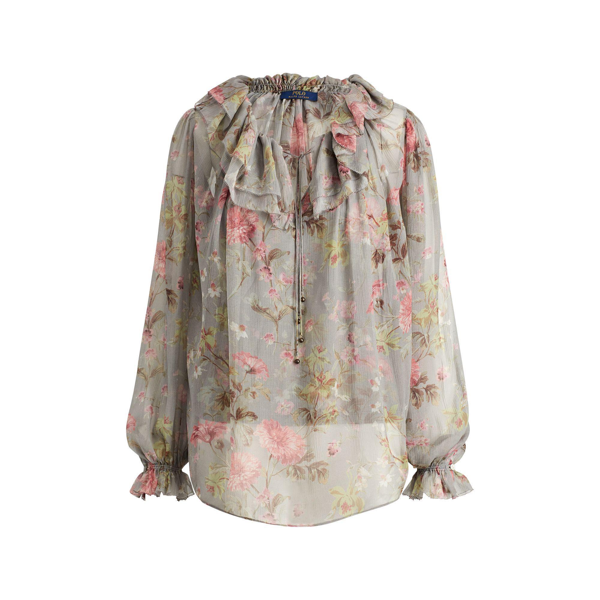 718ee0b5b Polo Ralph Lauren Sheer Silk Floral Blouse - Lyst