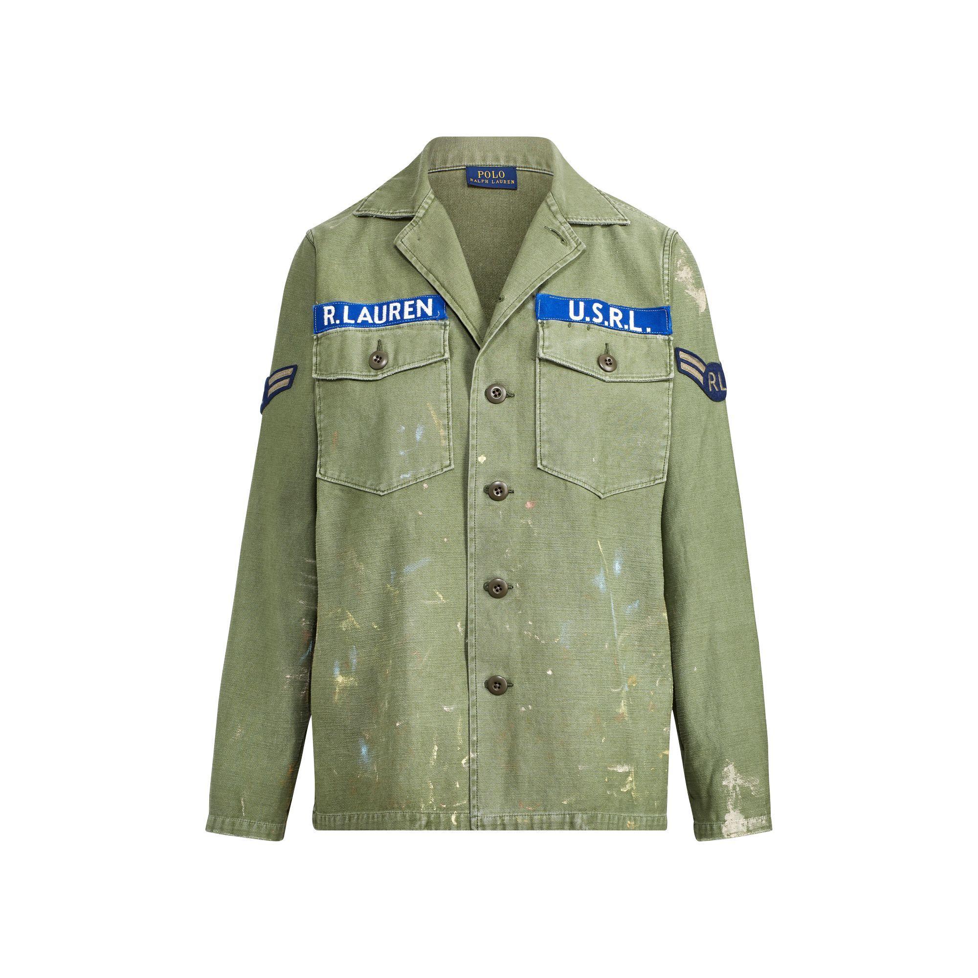 4bc9f8a156efb3 Polo Ralph Lauren - Green Painted Patchwork Satin Shirt - Lyst. View  fullscreen