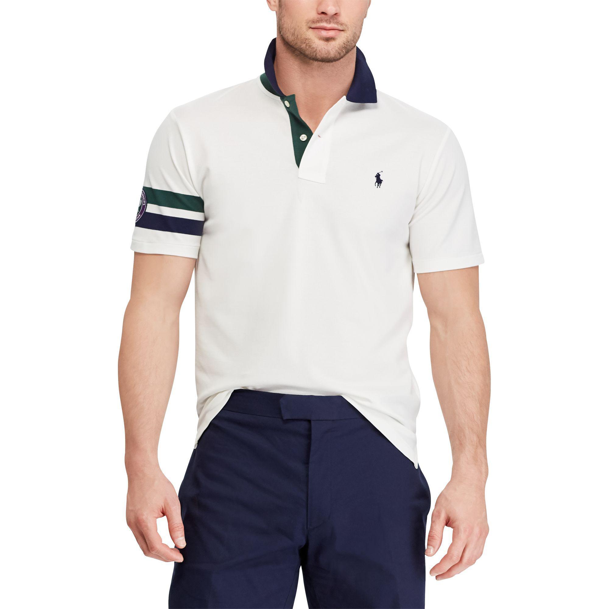 f5043de84e Polo Ralph Lauren White Wimbledon Custom Slim Fit Polo for men