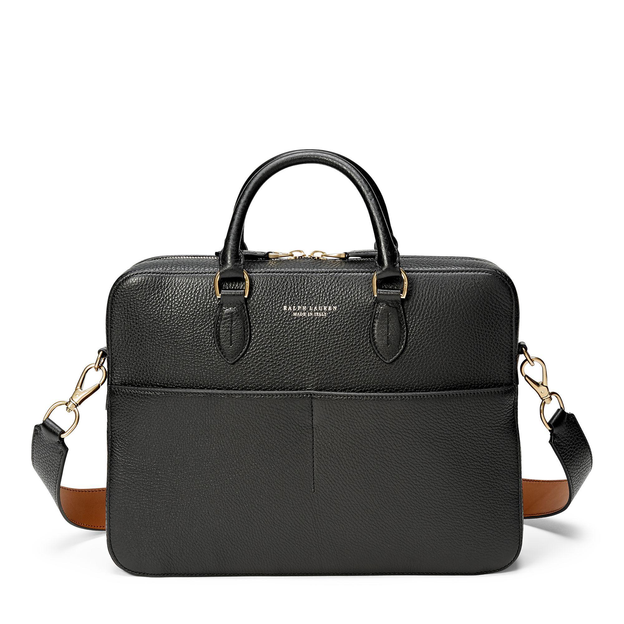 00ef93dfd03 Ralph Lauren Grain Calfskin Briefcase in Black for Men - Lyst