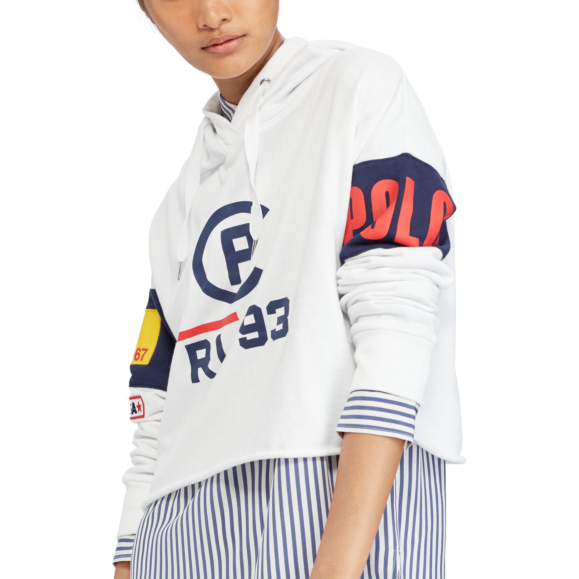 9e3c63be Polo Ralph Lauren Cp-93 Cropped Fleece Hoodie in White - Lyst