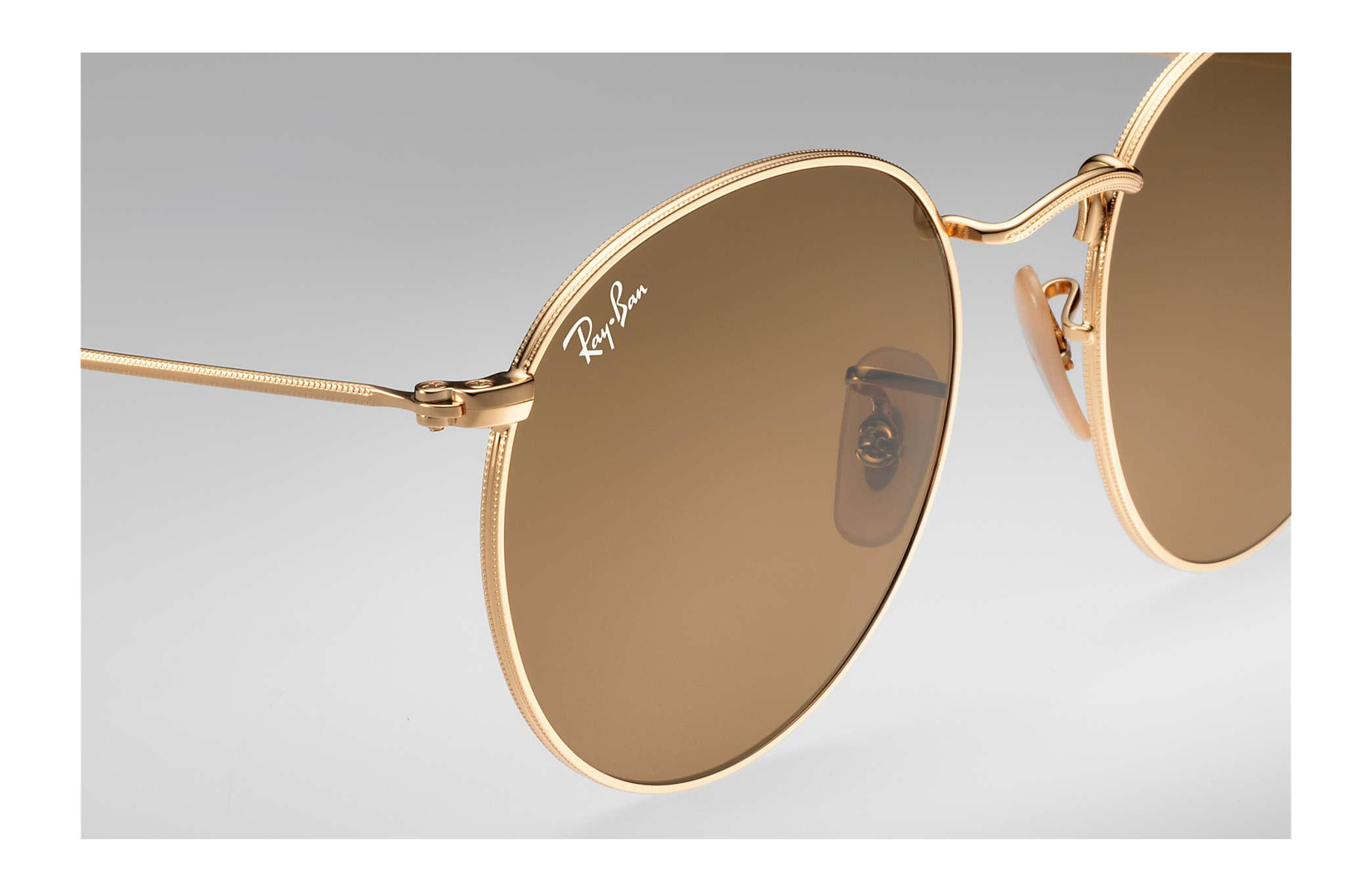 Ray Ban Round Evolve In Gold Brown Brown For Men Lyst