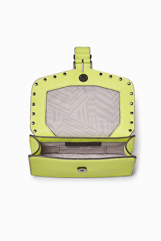 Rebecca Minkoff Leather Biker Mini Crossbody in Neon Yellow (Yellow)