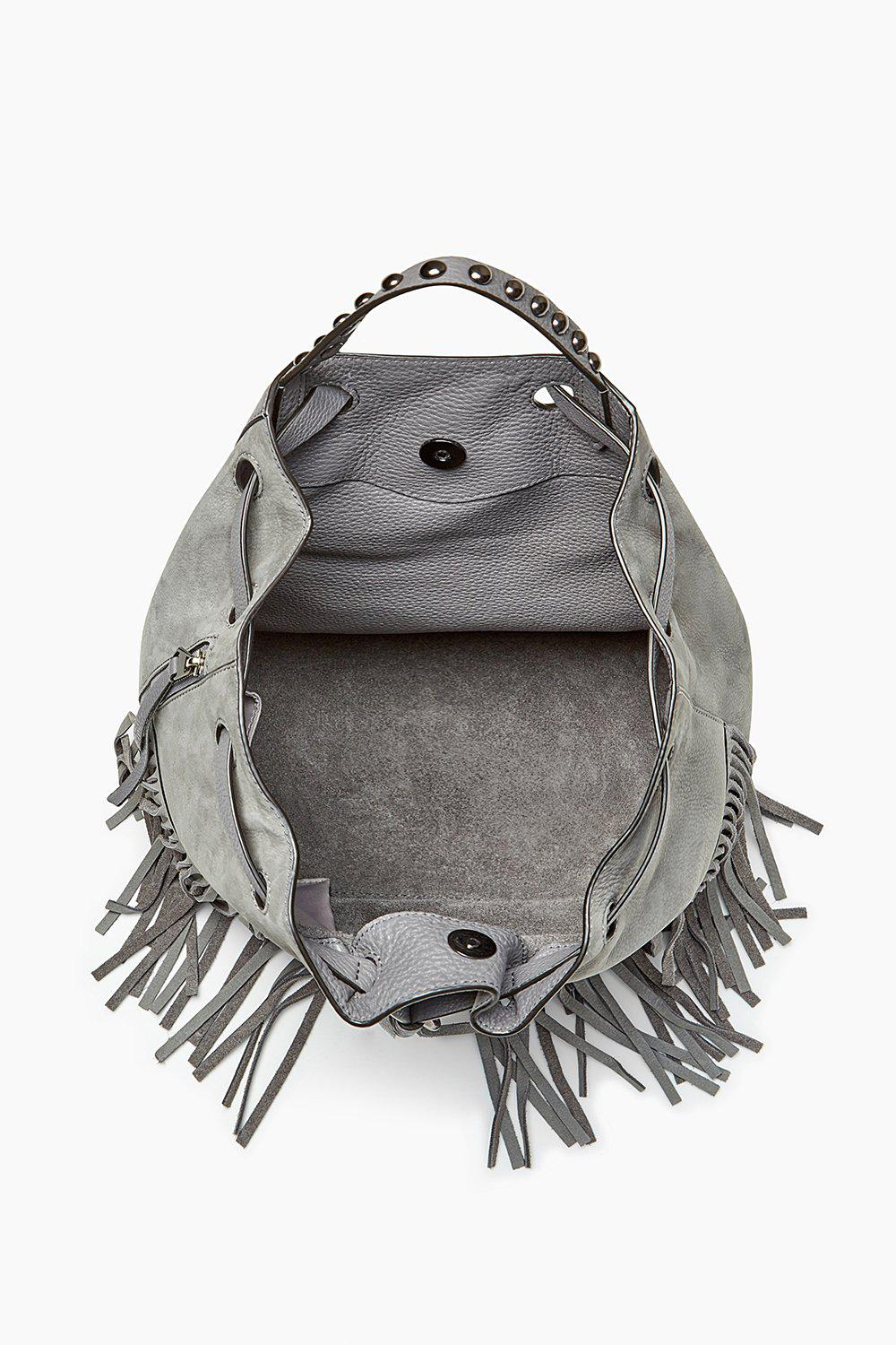 Rebecca Minkoff Leather Blythe Fringe Backpack in Grey