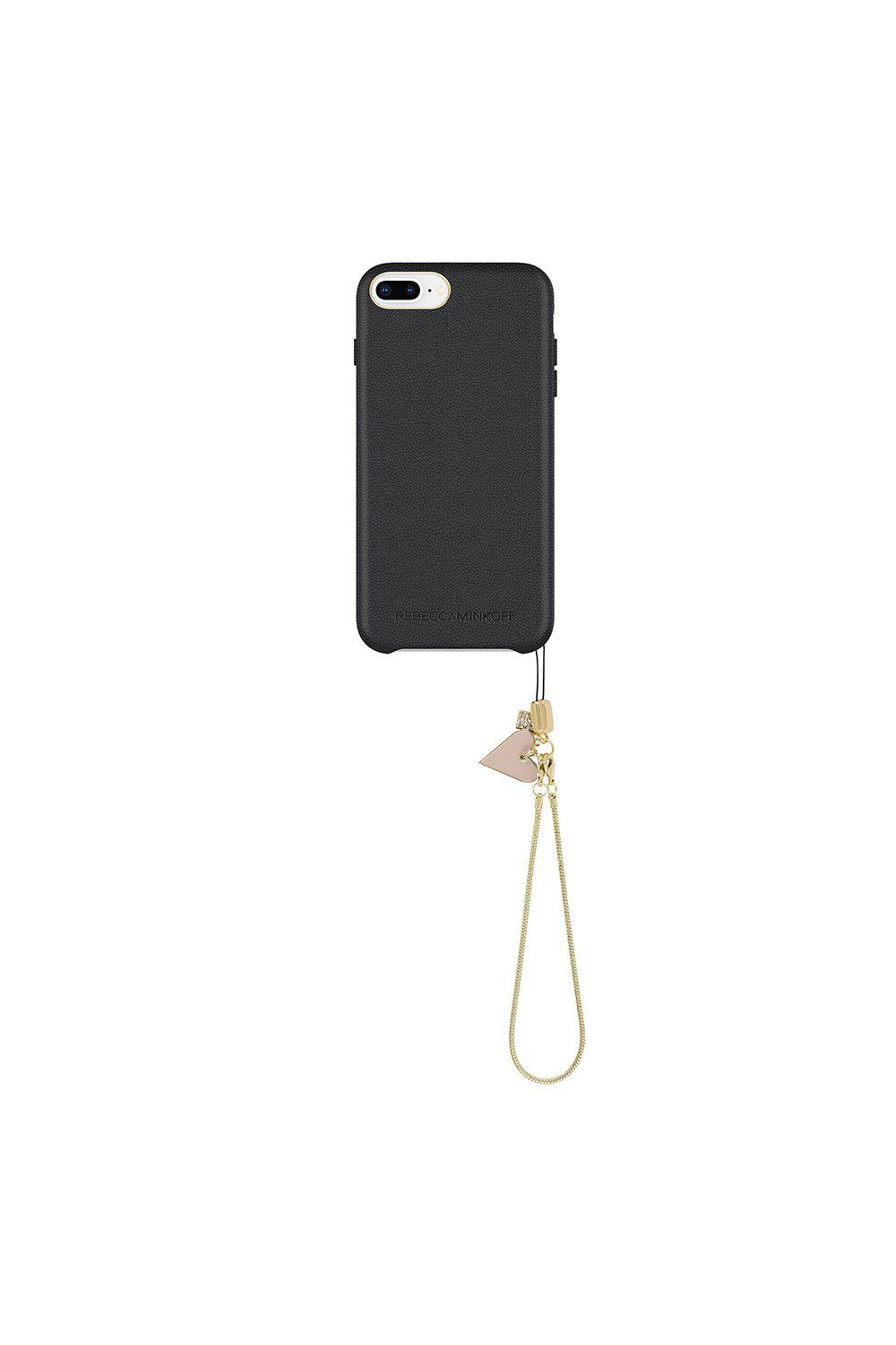 huge selection of 82c4a af670 Rebecca Minkoff Black Leather Wrapped Case With Heart Charm Iphone 8 Plus &  Iphone 7 Plus
