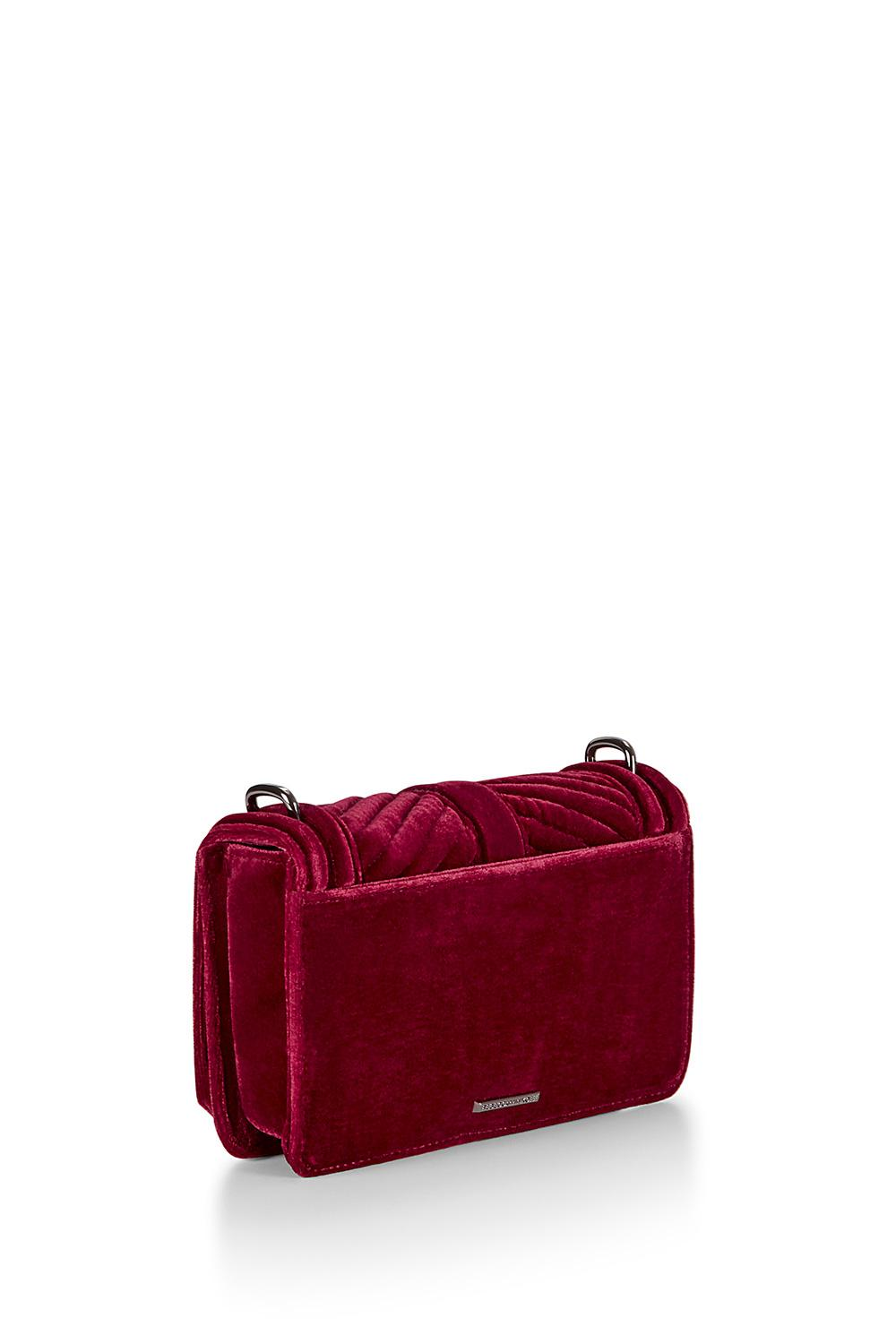 Rebecca Minkoff Chevron Quilted Small Velvet Love Crossbody in Soft Berry (Pink)