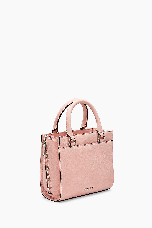 Rebecca Minkoff Leather Side Zip Mini Regan Tote in Pink