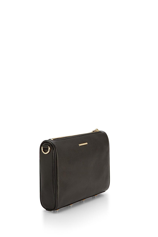 Rebecca Minkoff Leather Mini 5 Zip Crossbody in Black