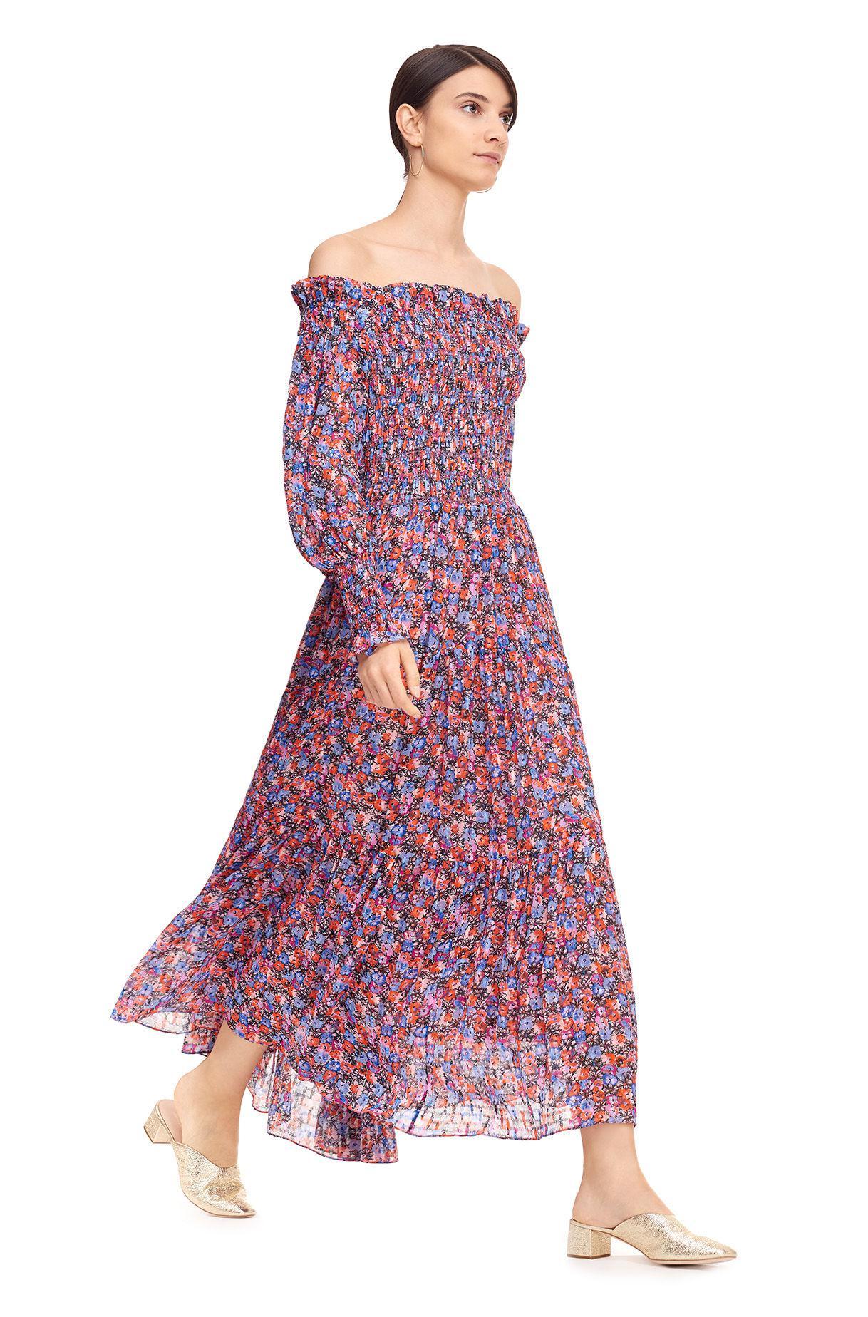930e28db2d0f Rebecca Taylor Off-the-shoulder Cosmic Fleur Print Dress - Lyst