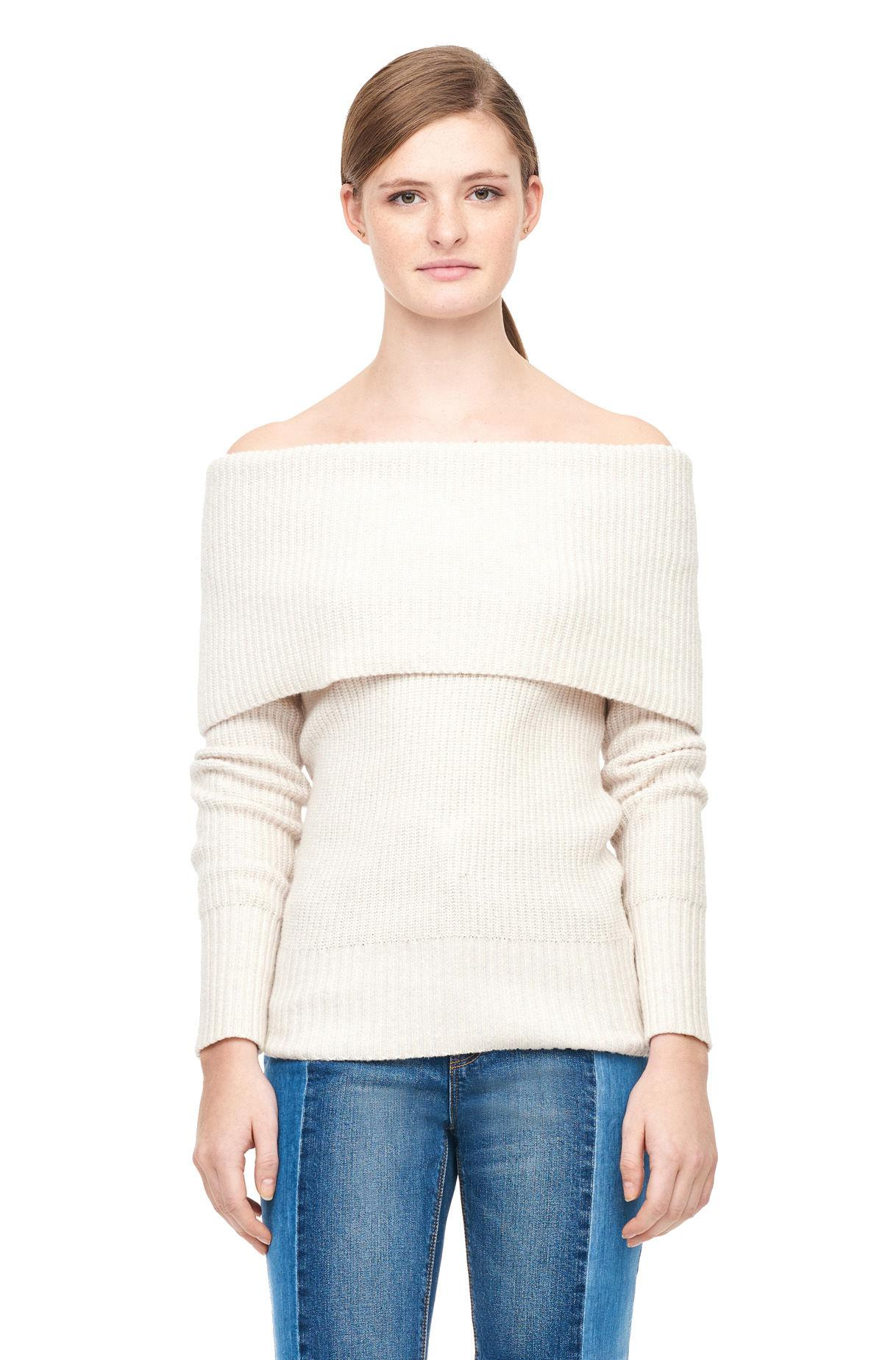 Rebecca Taylor Off-the-shoulder Cozy Wool Pullover