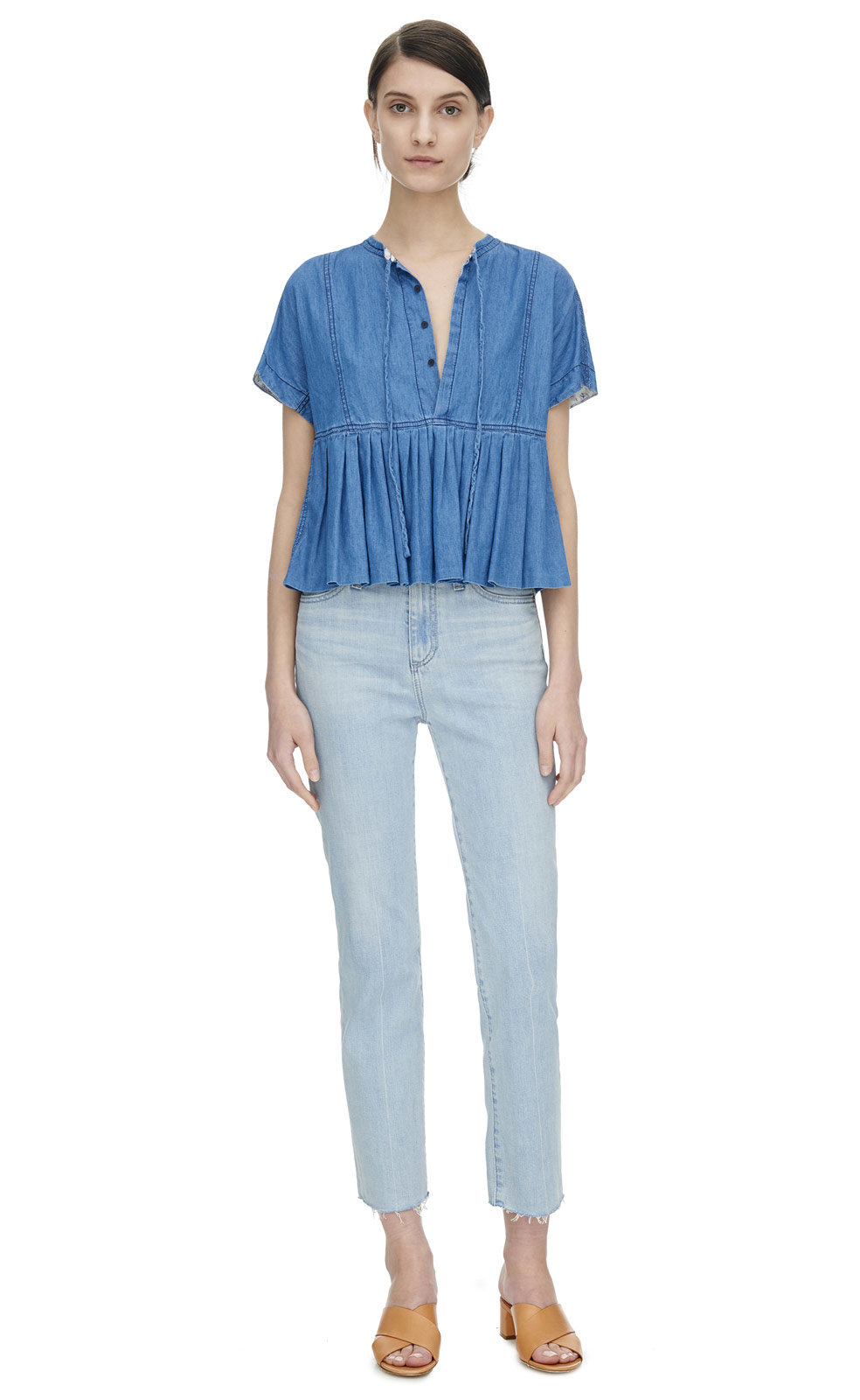 Lyst rebecca taylor short sleeve chambray top in blue for Short sleeve chambray shirt women