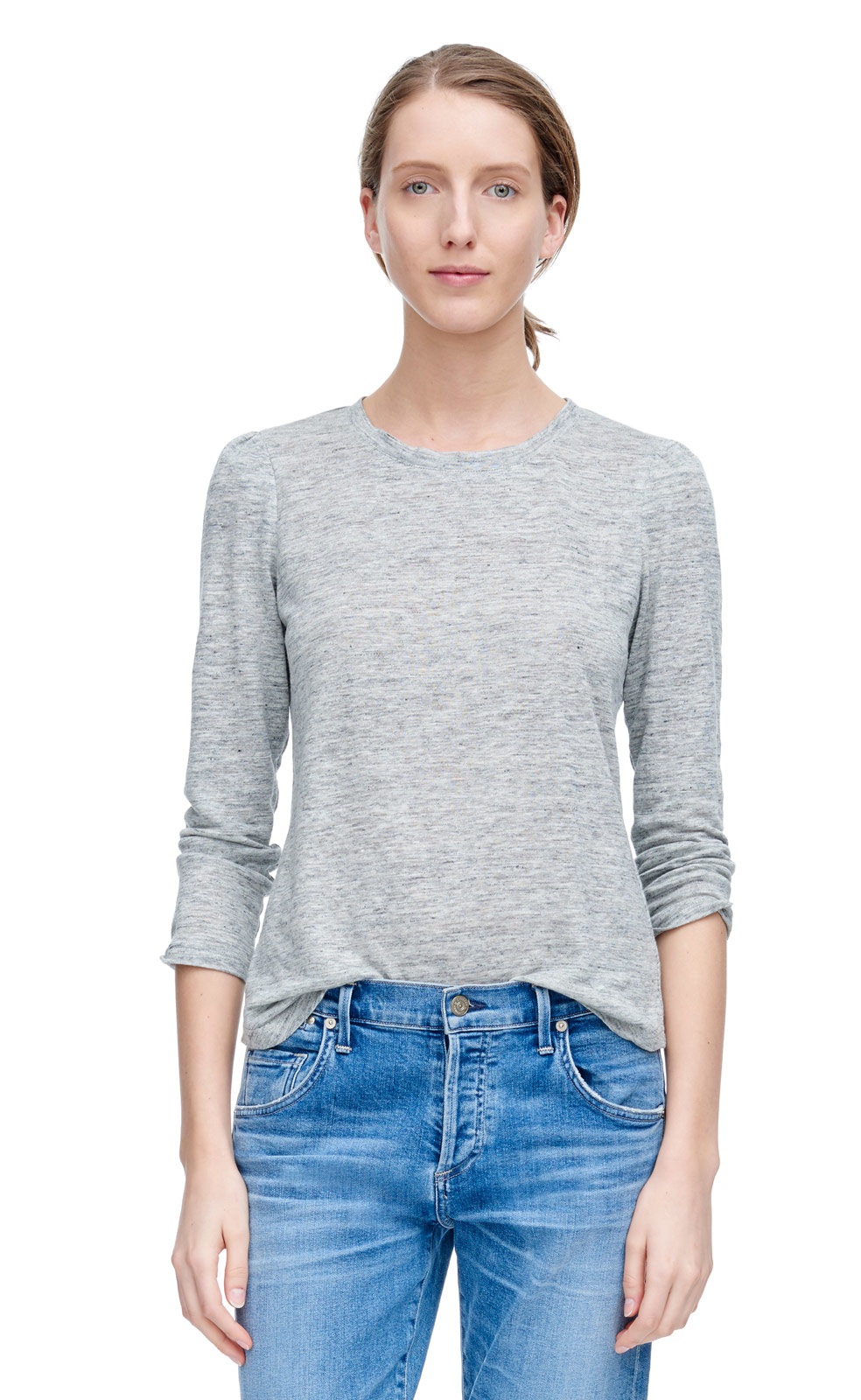 Rebecca Taylor Long Sleeve Puff Shoulder Tee In Gray Lyst
