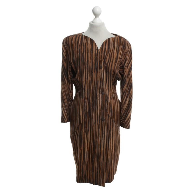 Mugler Vintage Kleid mit Muster in Braun - Sparen Sie 40%