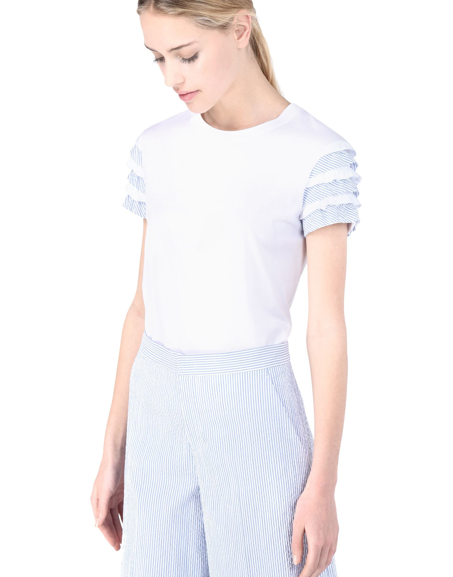 Red valentino ruffle sleeve t shirt in white lyst for Red valentino t shirt