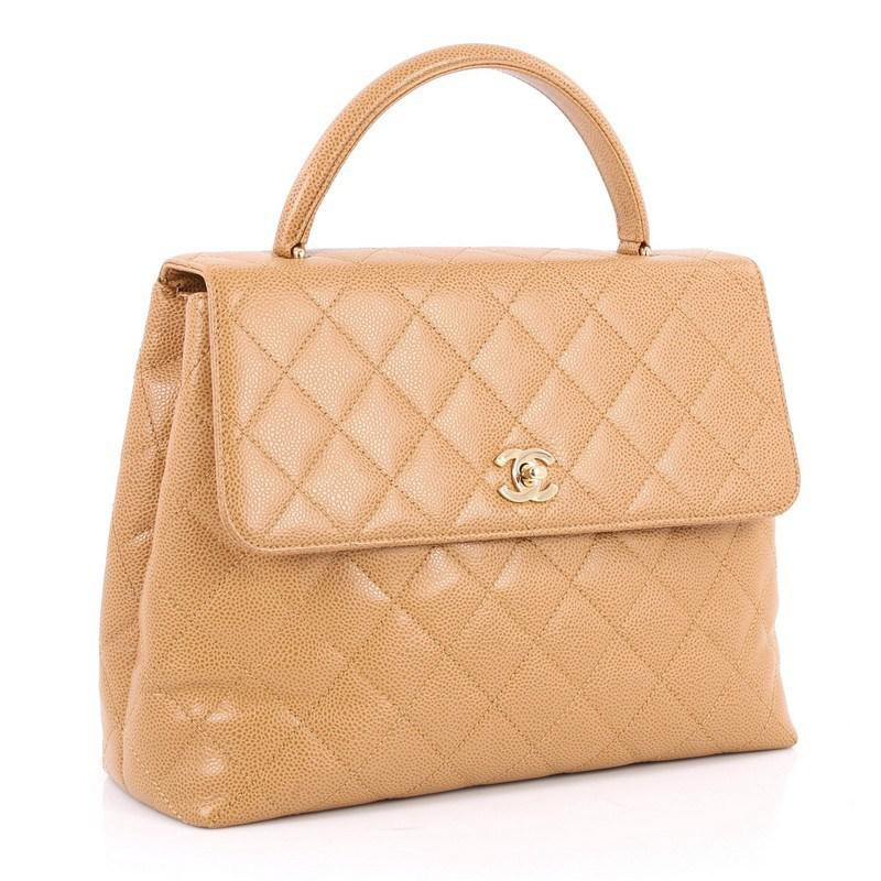 85f289a4af5b Chanel Vintage Classic Top Handle Flap Bag Quilted Caviar Jumbo in ...