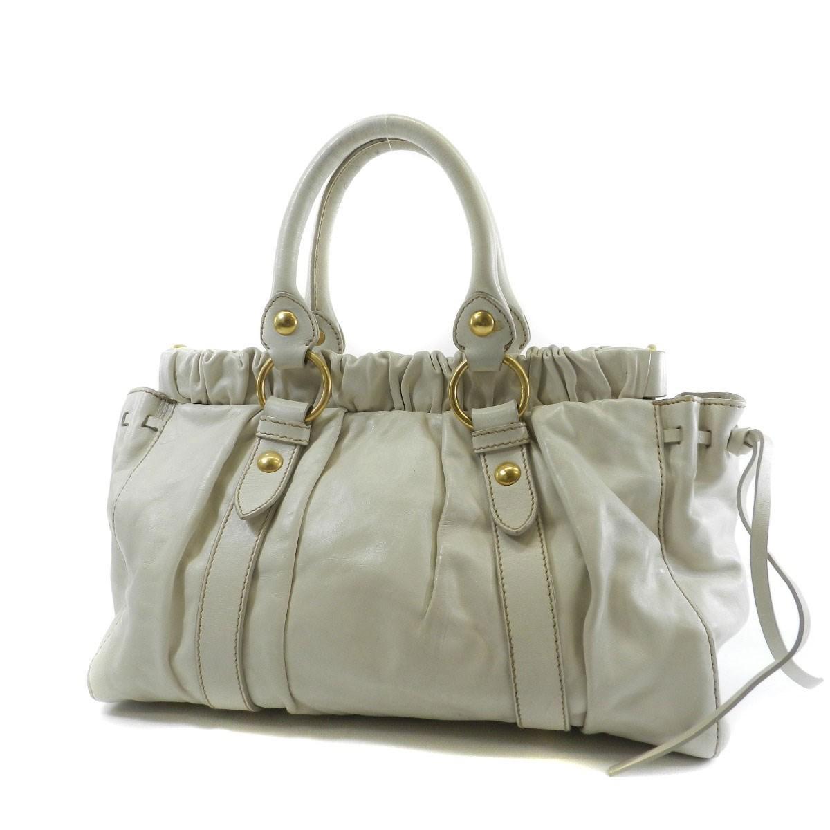 434cb31434e Lyst - Miu Miu Miumiu Leather Tote Bag 2way in White