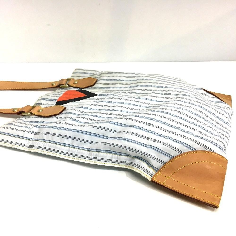 Lyst - Louis Vuitton Tanger Men s Women s Stripe Tote Bag White ... 9b90bb29fd