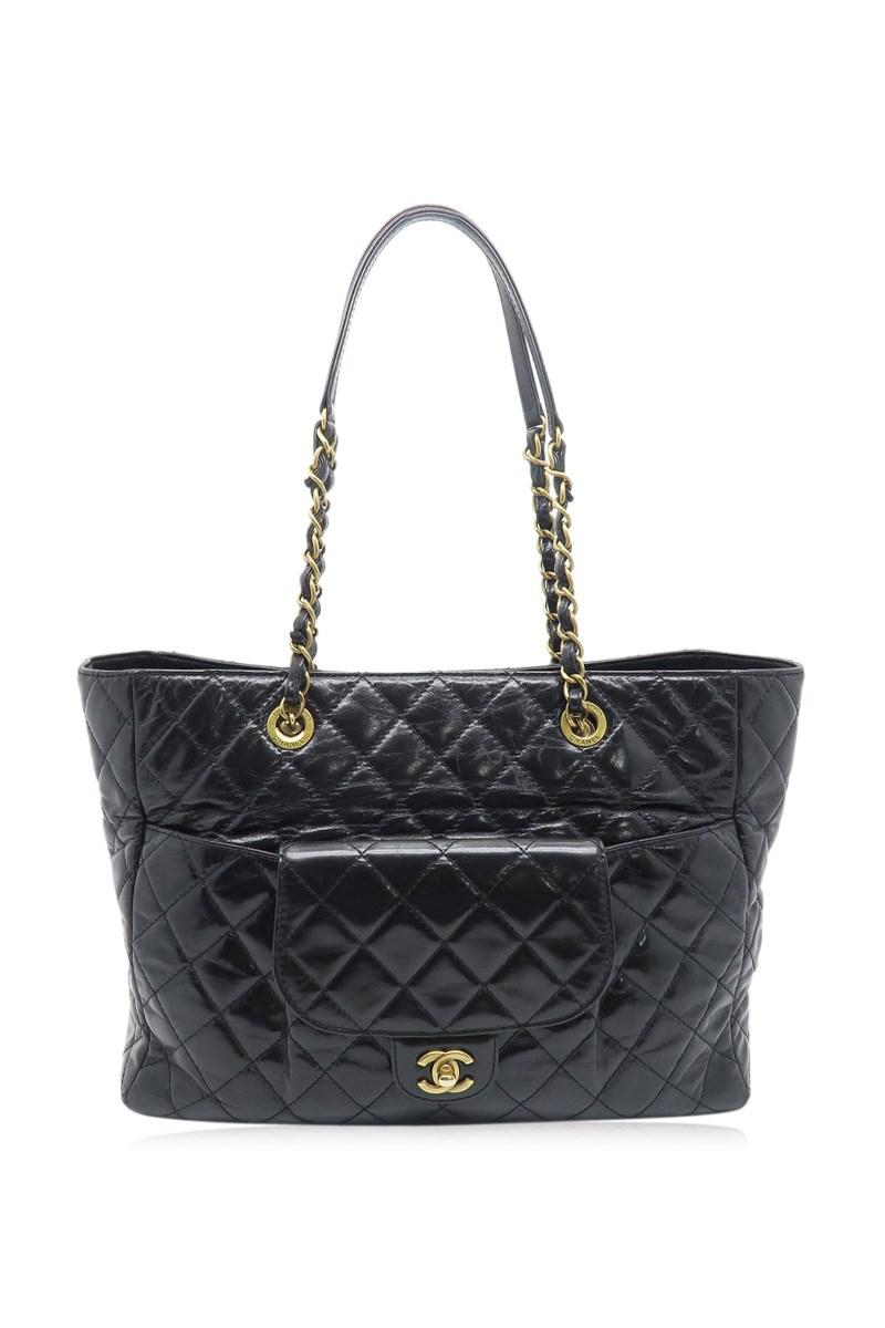 53dc9db17f8f Lyst - Chanel Quilted Calfskin Leather Gold Metal Chain Shoulder Bag ...
