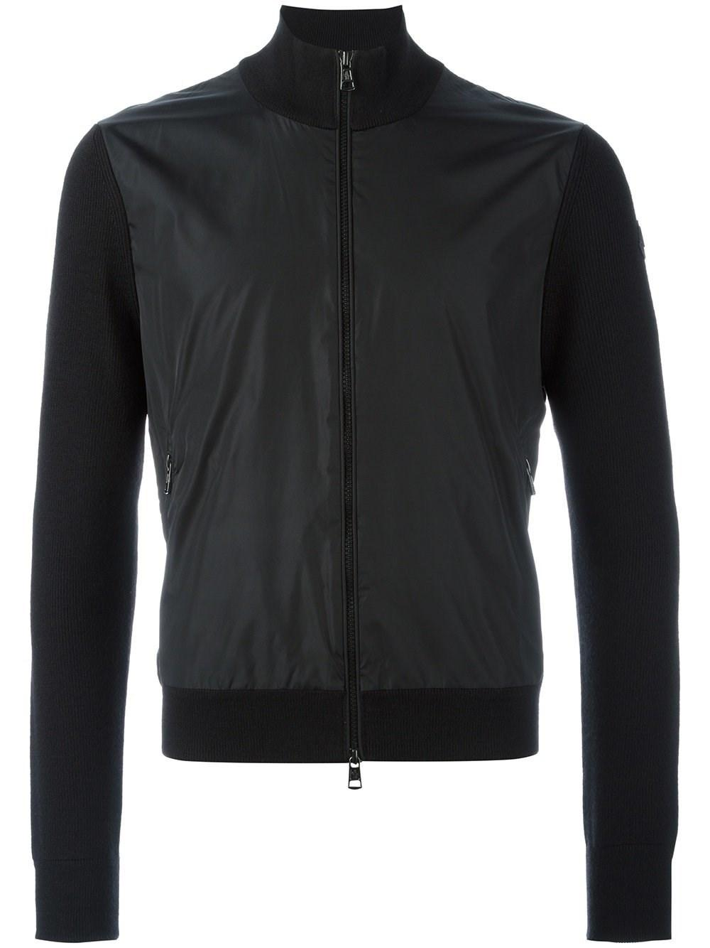 6788d093b Lyst - Moncler Knitted Sleeve Jacket in Black for Men