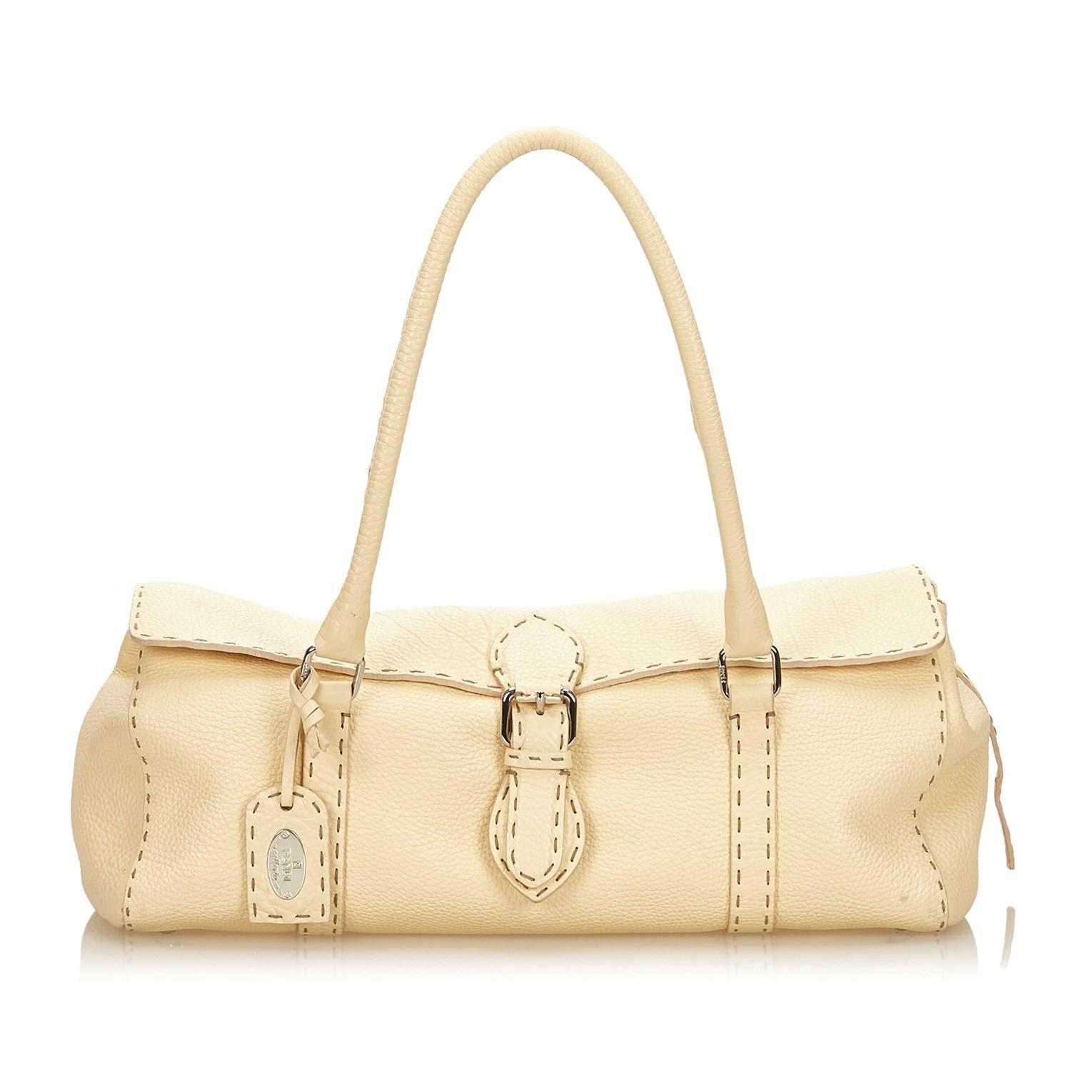 ee9508d8bb85 Lyst - Fendi Selleria Leather Handbag in Natural