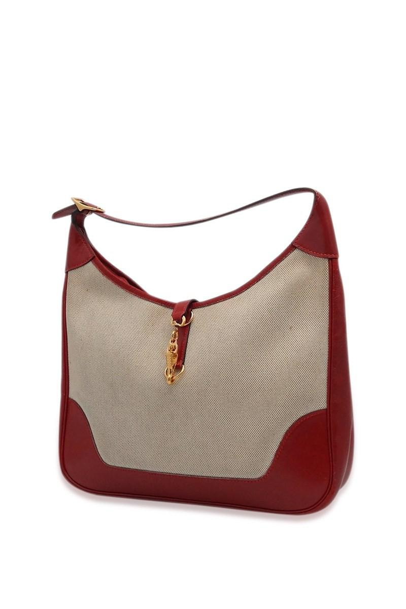 Lyst - Hermès Shoulder Bag Trim 31 Canvas X Red Q in Brown 5c6949207fcfd