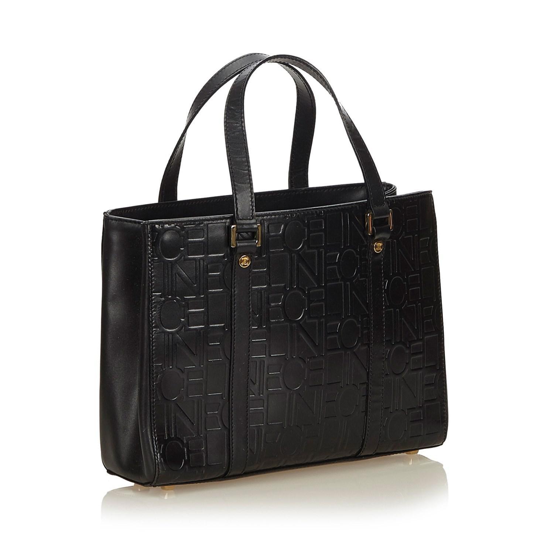 5e533874c239 Céline - Black Embossed Leather Tote - Lyst. View fullscreen