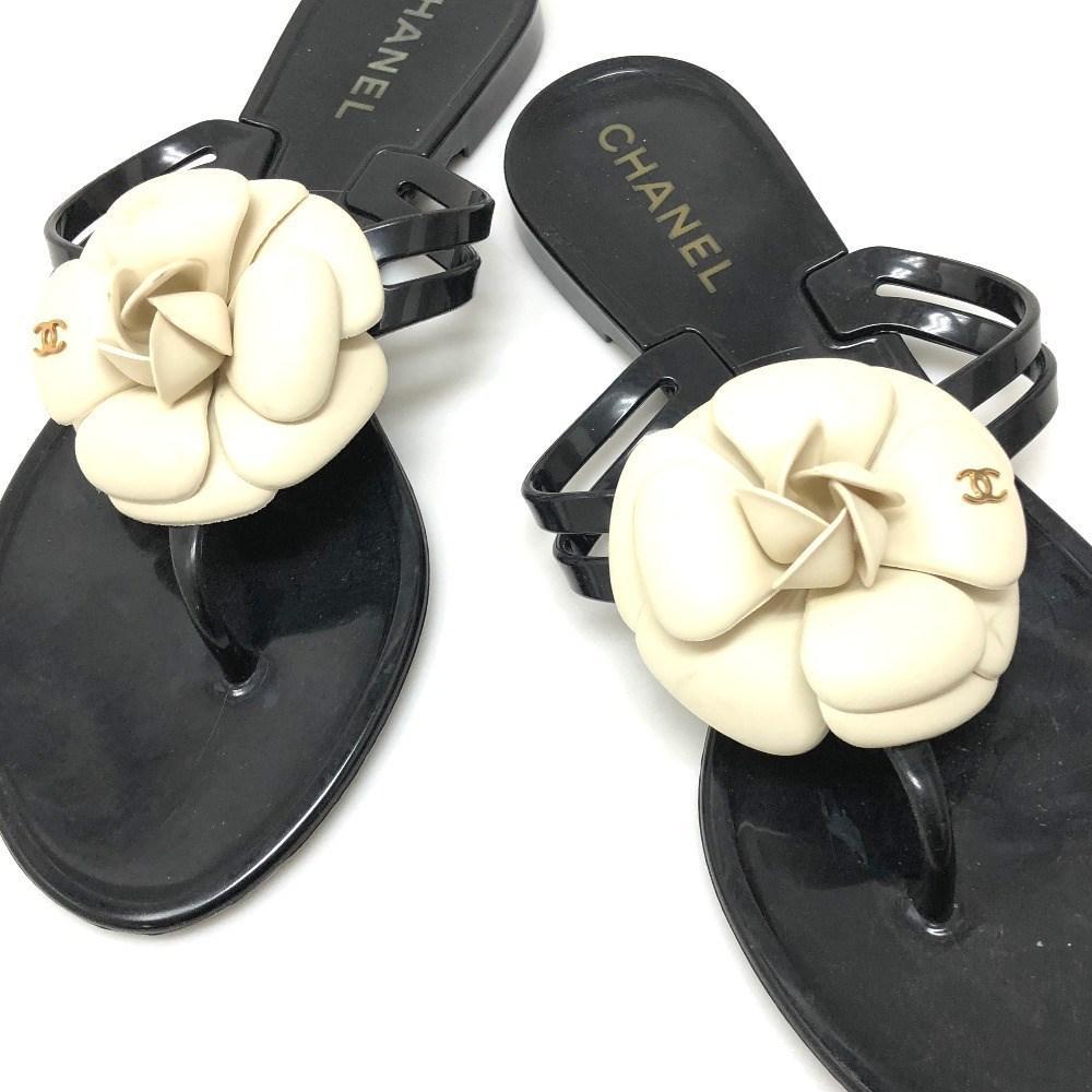 9d85d6ab9c5d Lyst - Chanel Camellia Cc Beach Sandal Sandals Black creme Rubber ...