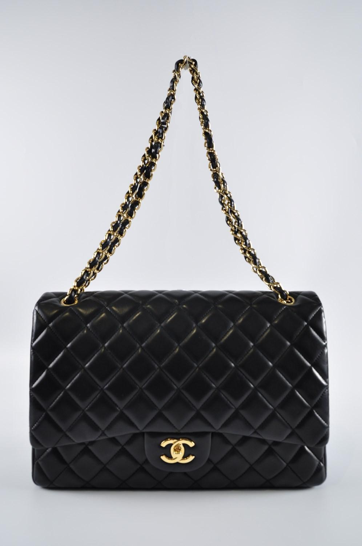 6af8c40e8c7a Lyst - Chanel Maxi Single Classic Flap Black Lambskin Ghw 13799942 ...