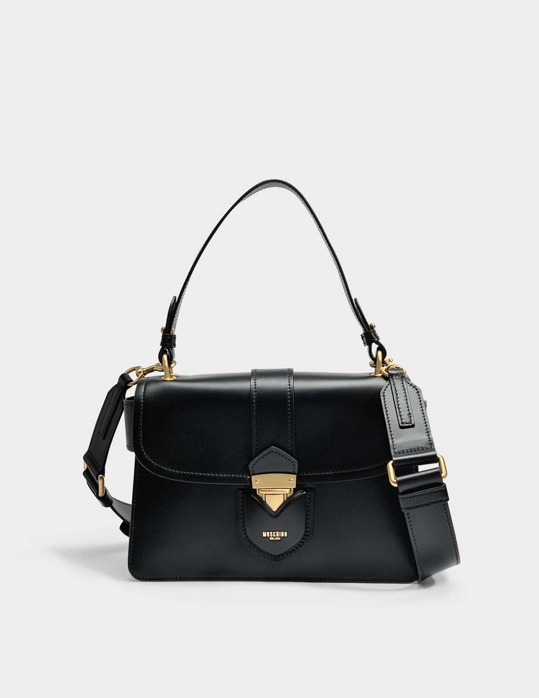 Moschino Hidden Lock Shoulder Bag in Black Calfskin E2FXFM