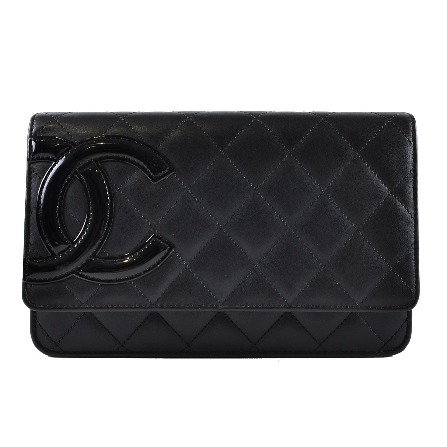 22ad9e34dfc3 Chanel Cambon Woc Black Lambskin With Cc Patent Logo And Pink ...