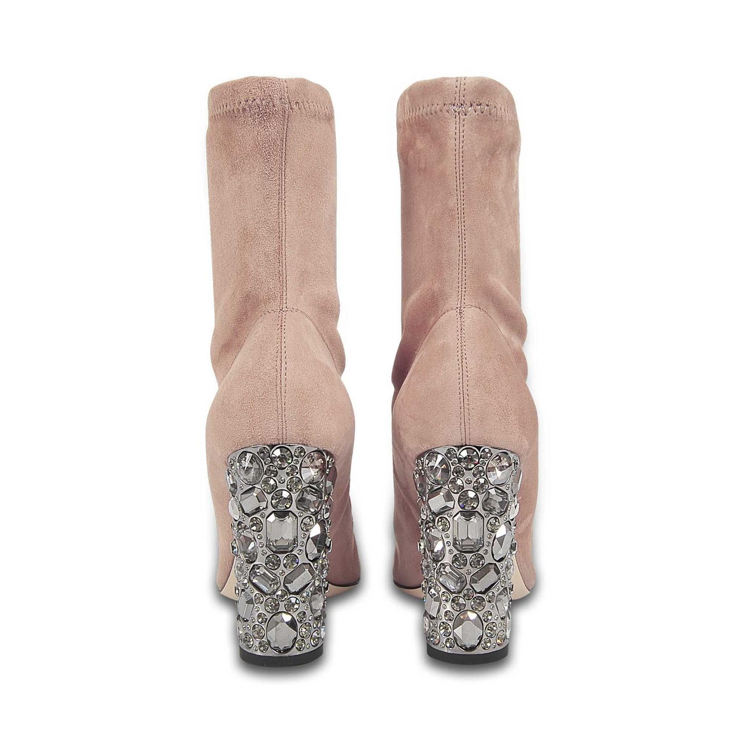 ba7a659f3ac Lyst - Jimmy Choo Maine Suede Booties With Crystal Heels In Ballet ...
