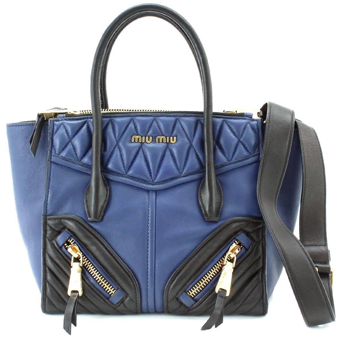 1643bf18a848 Lyst - Miu Miu Miumiu Biker 2way Hand Bag Nappa Leather Blue Black ...