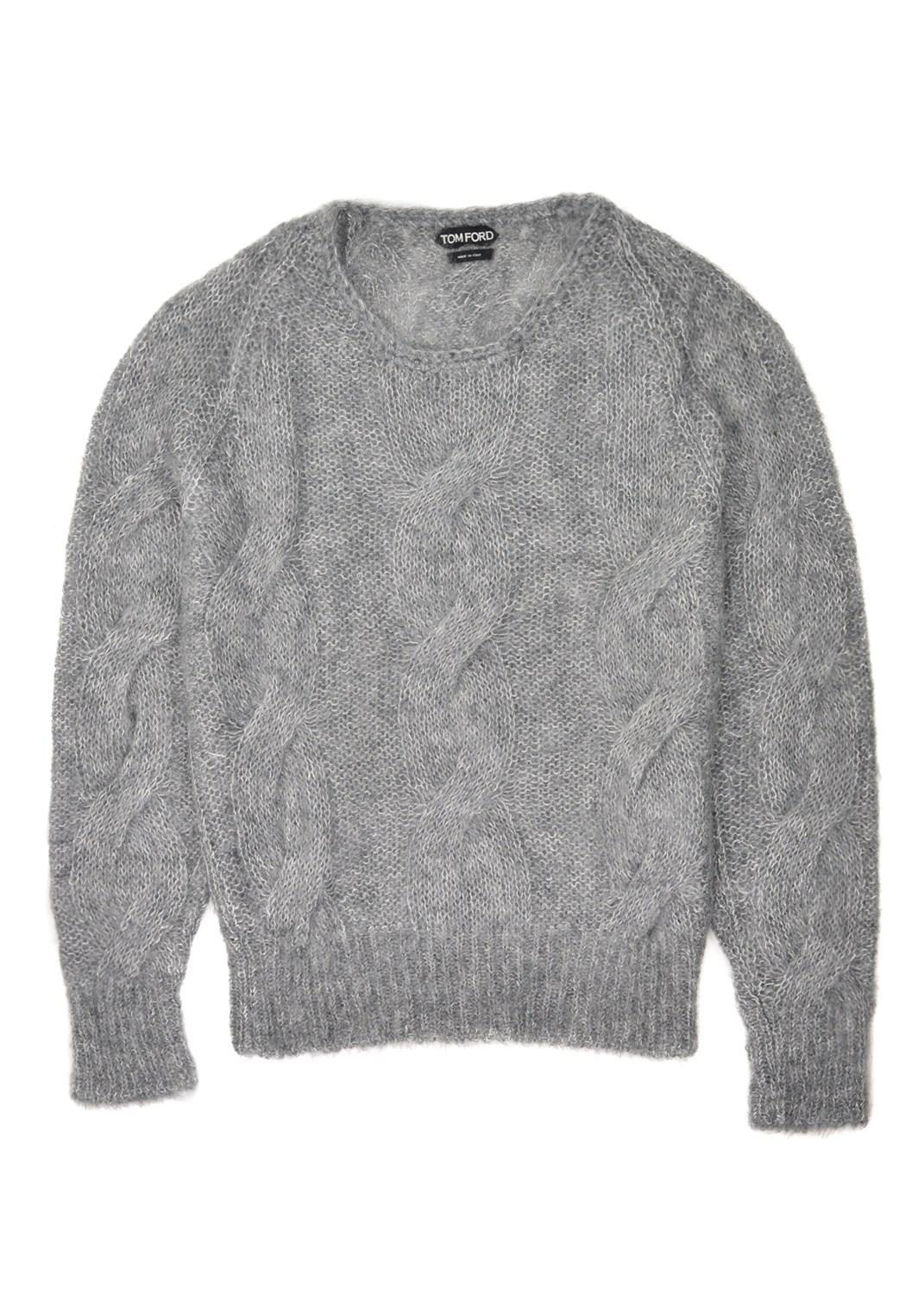 fb5afe00 Tom Ford - Gray Mens Mohair Silk Grey Crewneck Cable Knit Sweater for Men -  Lyst. View fullscreen