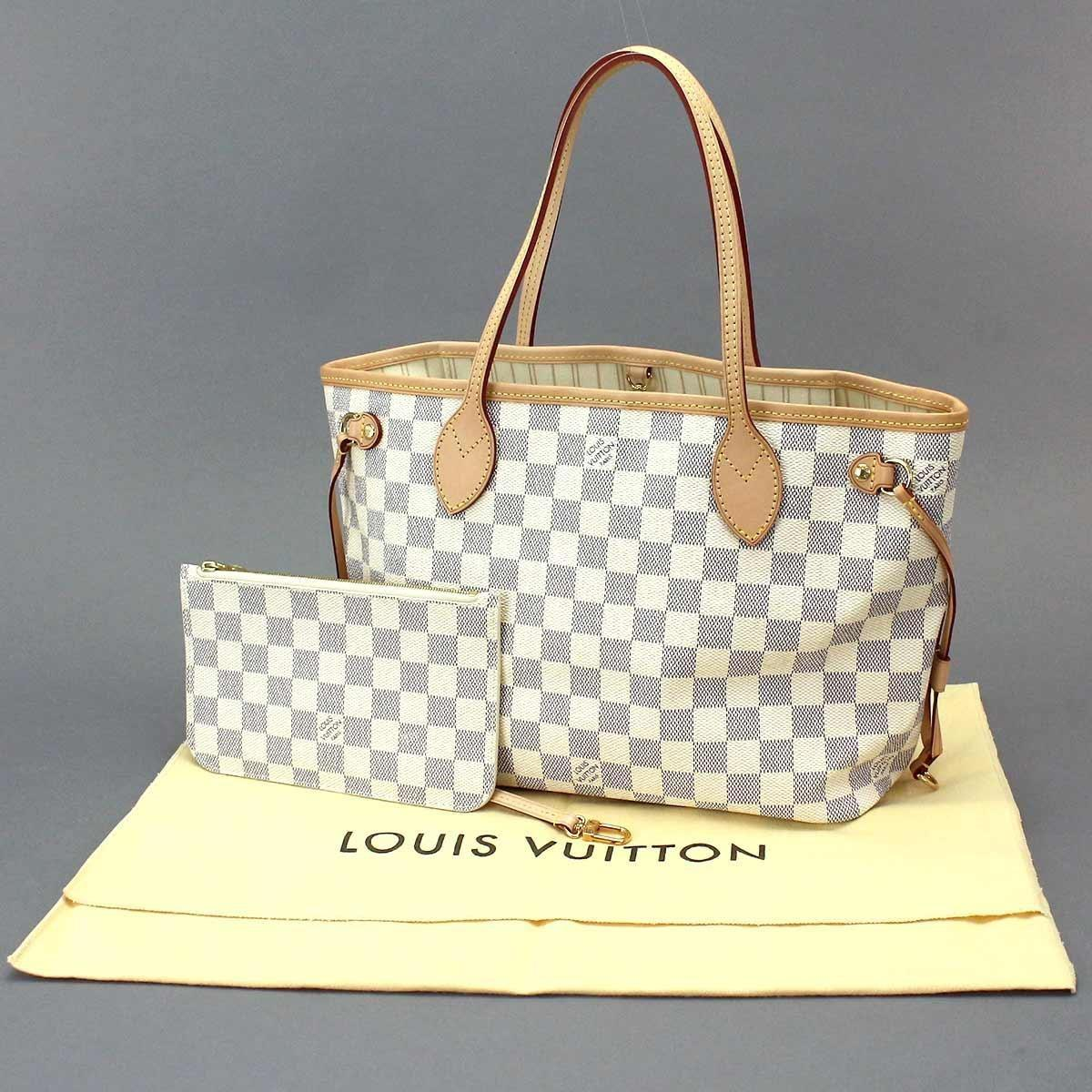 39e0573436e Louis Vuitton Blue Damier Azur Neverfull Pm Tote Bag White N41362 90046400..
