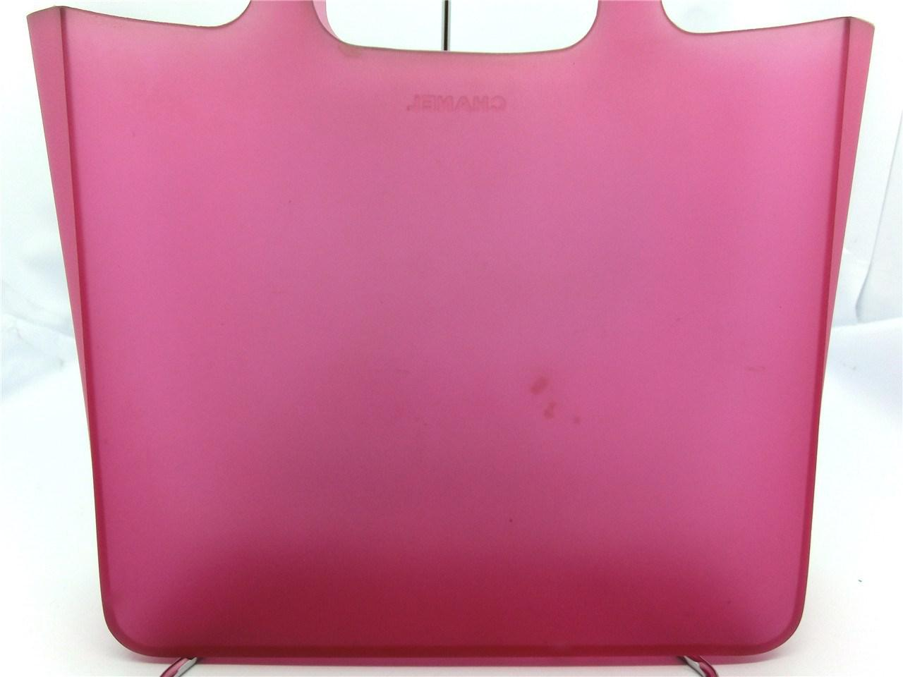 871a005adf3 Lyst - Chanel Authentic Pink Jelly Rubber Cc Logo Shopper Tote Bag ...