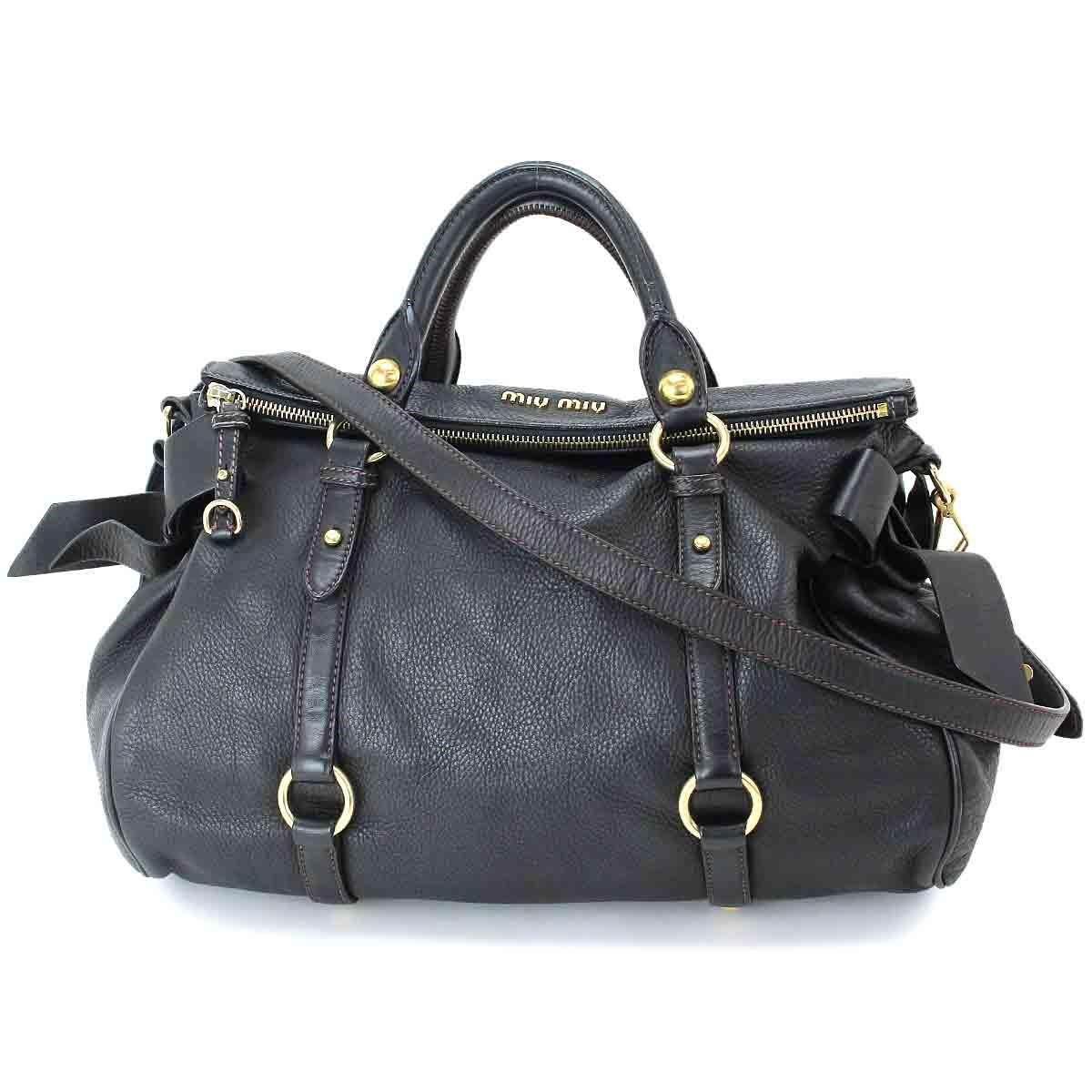 52e77167474 Lyst - Miu Miu Miumiu 2way Hand Shoulder Bag Side Ribbon Leather ...