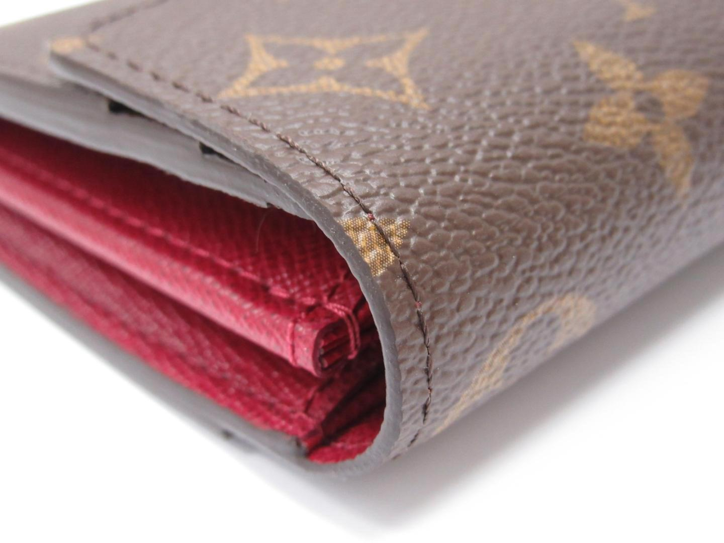 new products f48c0 89006 Women's Red Sara Long Wallet Monogram Canvas Fuchsia M62234