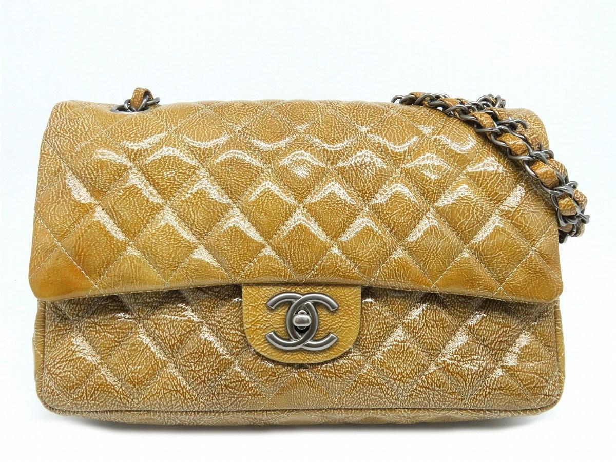 2b18f97505fa Chanel Matelasse Cc Classic Medium Shoulder Bag Patent Leather Brown ...