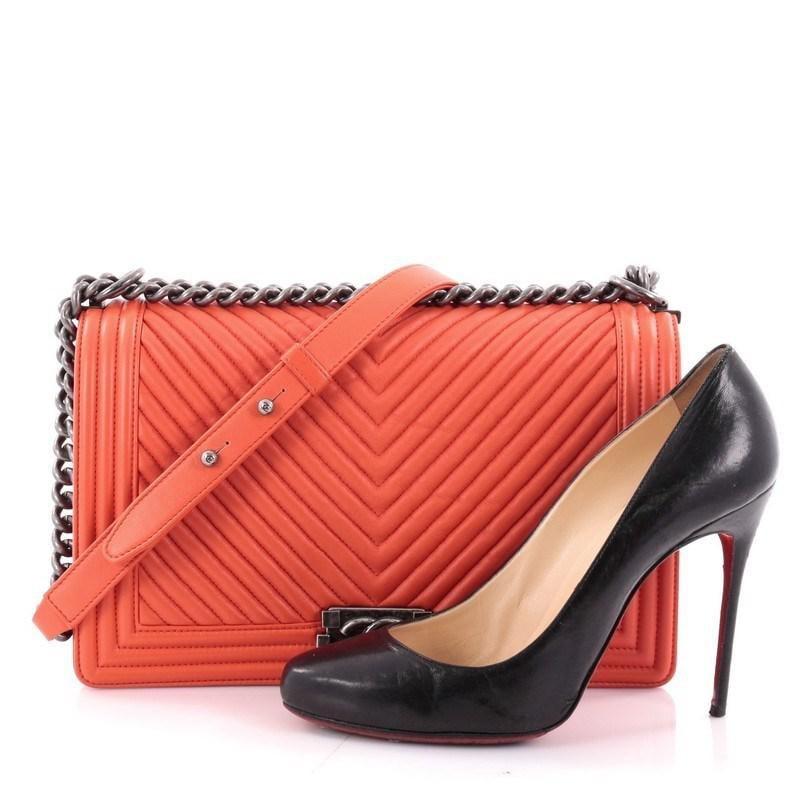 1d8269c01aa8 Lyst - Chanel Boy Flap Bag Chevron Wrinkled Lambskin New Medium in ...