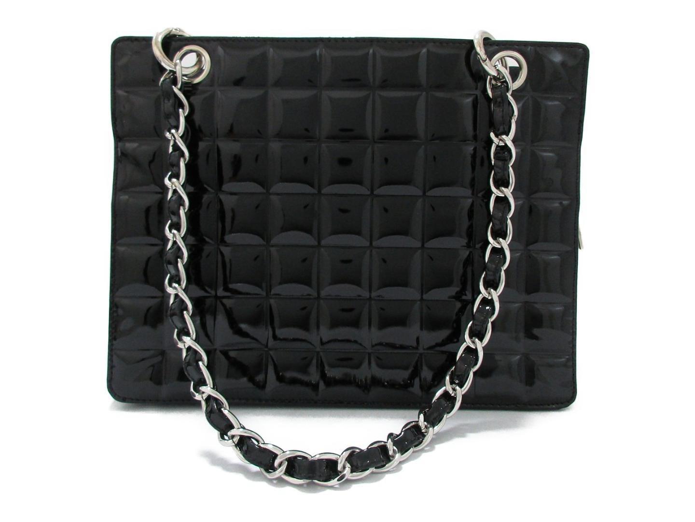 cc37b04bd5ed Chanel Chocolate Bar Chain Shoulder Bag Enamel Leather Black Used in Black  - Lyst