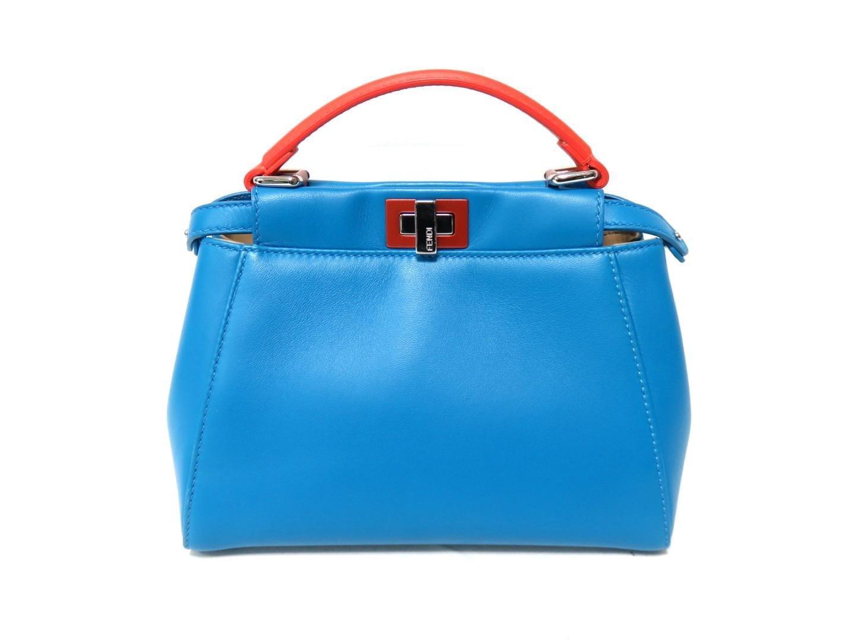 2d028fdef2 Lyst - Fendi Mini-peekaboo Handbag Bluexorange Lambskin Leather ...