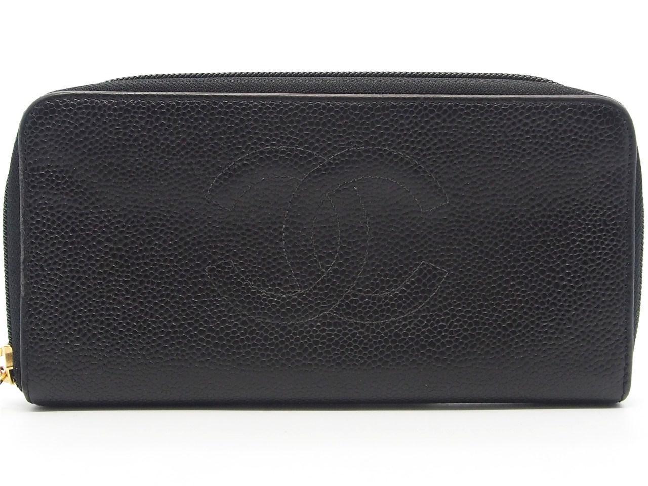 2013ad5b Chanel Authentic Black Caviar Leather Cc Logo Timeless Zippy Wallet  17017526ck
