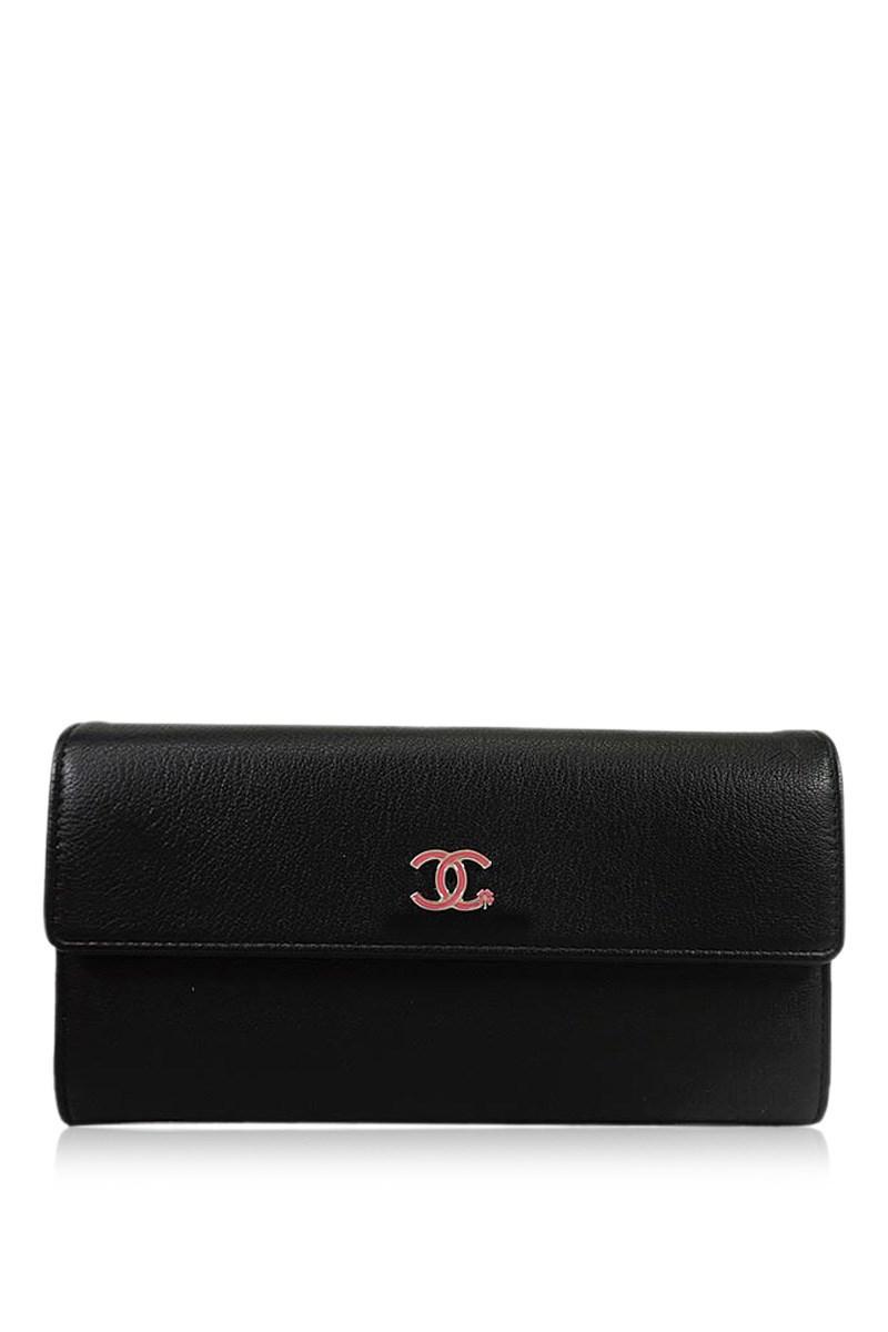 45b42acd75bbf4 Chanel Ccmark Lucky Clover Flower Stalk Long Wallet Black/pink ...