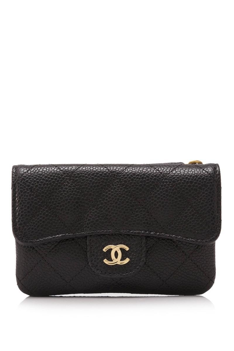 7aeb7b0297fcdd Chanel Pre-owned Quilted Caviar Leather Short Wallet in Black - Lyst