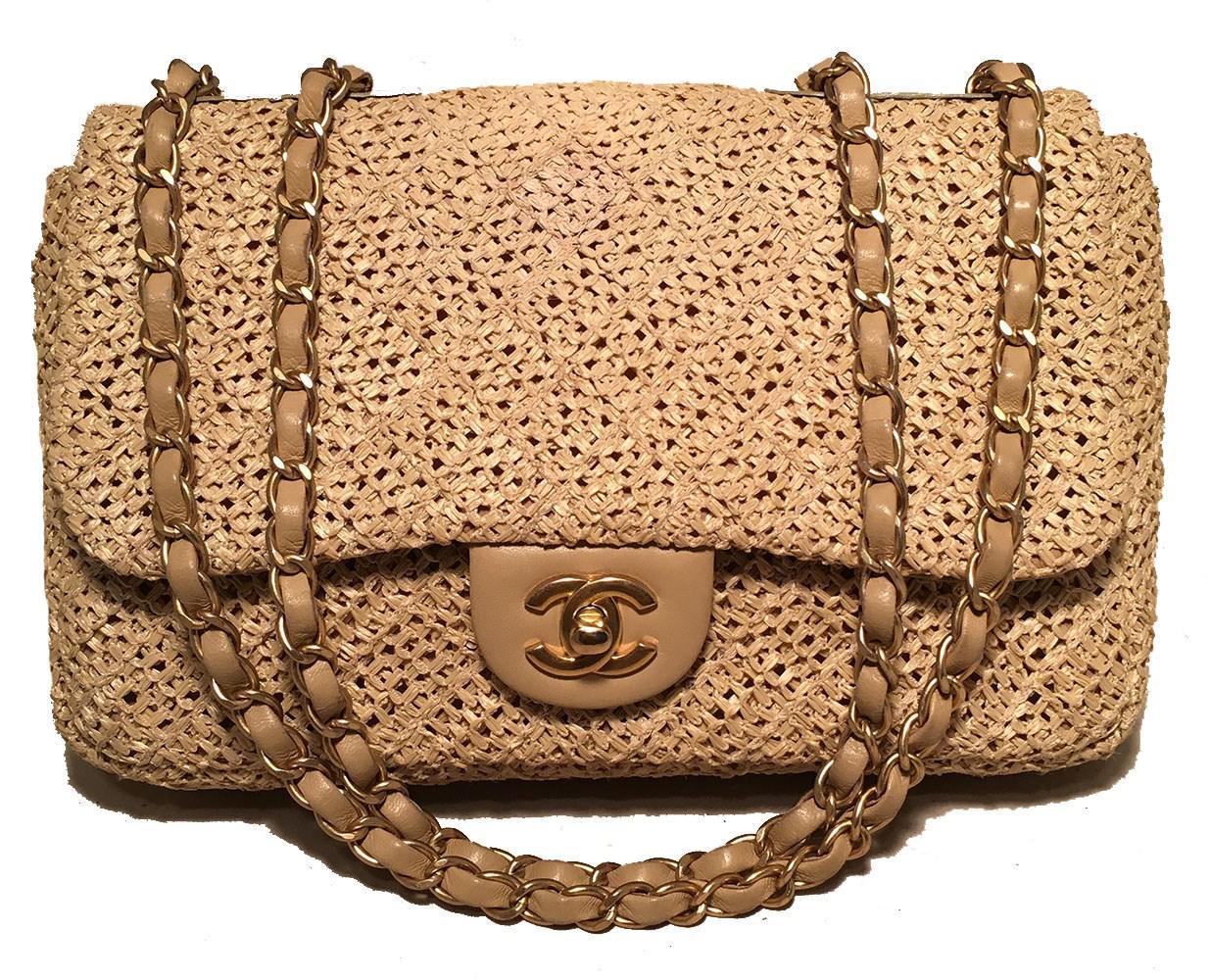 0c1ebe8c36fe61 Chanel Tan Raffia Classic Flap Shoulder Bag in Brown - Lyst
