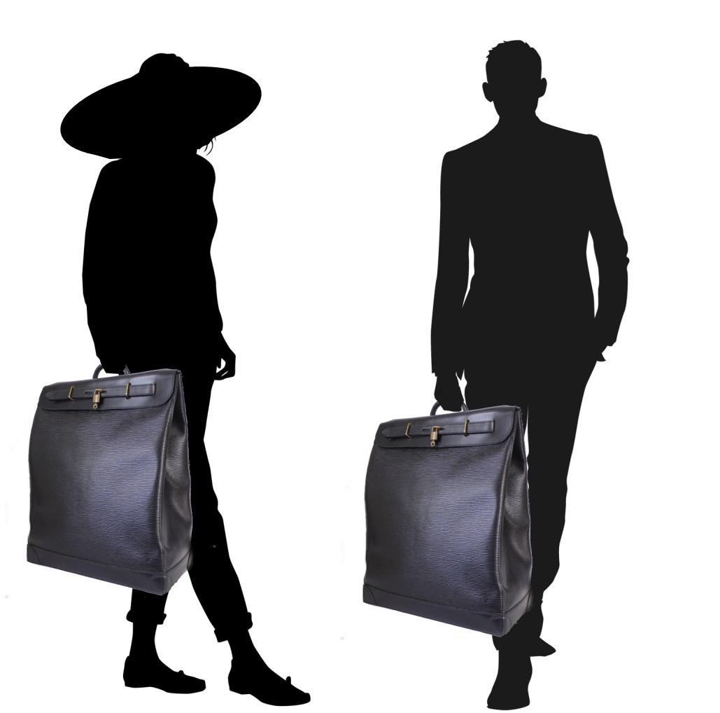 f8856ef12cc9 Lyst - Louis Vuitton Black Epi Steamer 45 Travel Bag Special Order ...