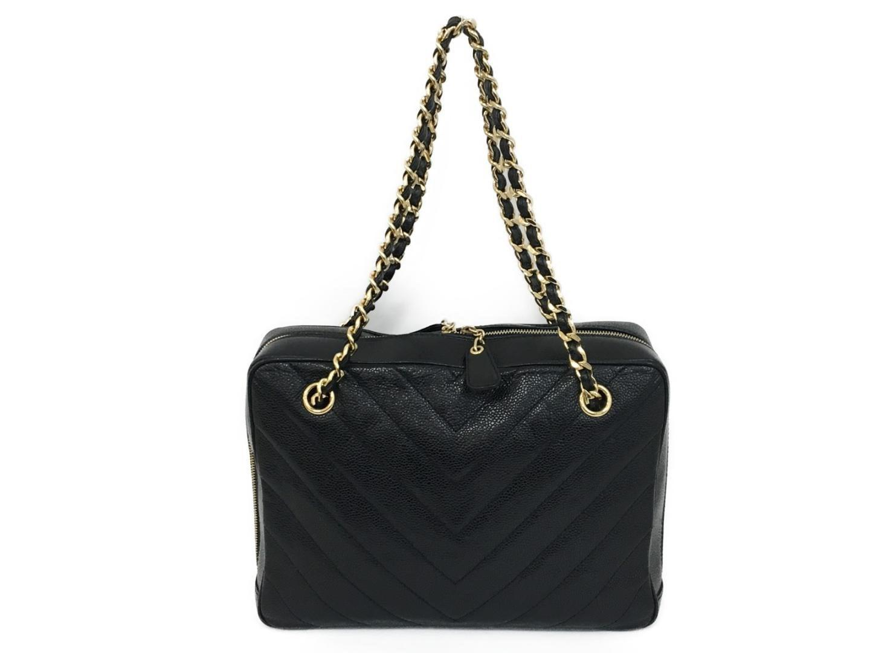 Lyst - Chanel Chain Shoulderbag Chain Totebag Handbag Caviar Skin ... 2679f35e2bd93