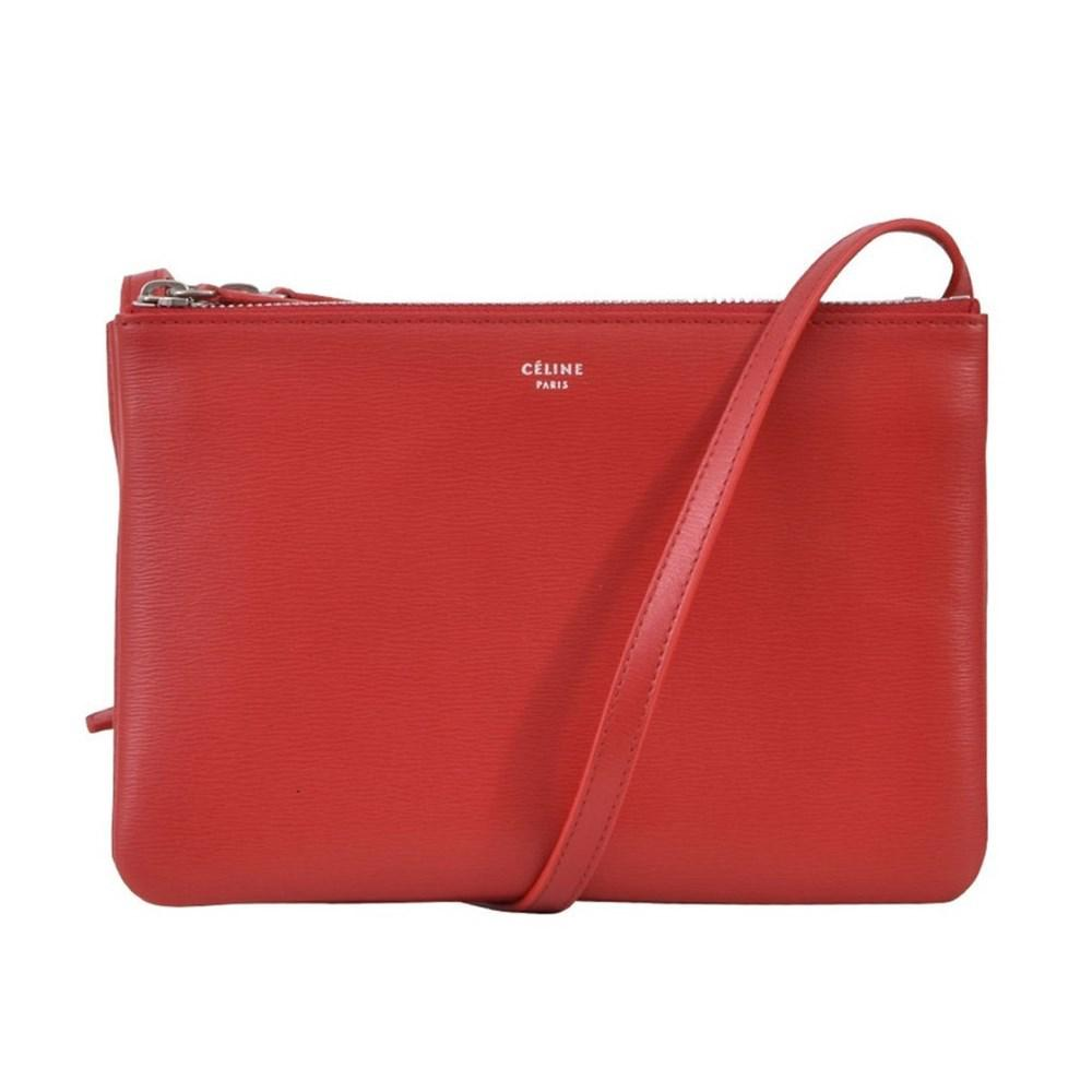 e72c6ce226 Lyst - Céline Small Trio Shoulder Bag Red in Red