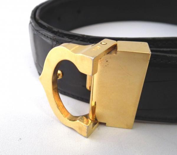 a89a00e968793 Cartier Belts Crocodile Mast C Buckle Black Mens Gold Mens Croc Black for  men