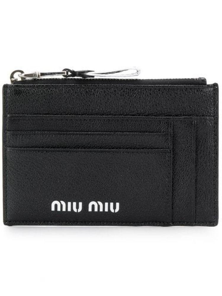 7321127760de Lyst - Miu Miu Women s 5mc4462b64f0002 Black Leather Wallet in Black